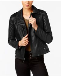 Guess - Studded Faux-leather Moto Jacket, Created For Macy's - Lyst