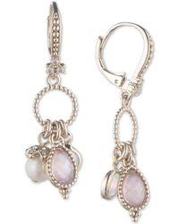 Marchesa - Gold-tone Imitation Pearl, Stone & Pavé Shaky Drop Earrings - Lyst