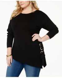 INC International Concepts - I.n.c. Plus Size Asymmetrical Grommet Tunic Sweater, Created For Macy's - Lyst