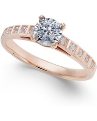 Macy's - Diamond Miracle-plate Engagement Ring (3/8 Ct. T.w.) In 14k Rose Gold - Lyst