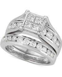Macy's - Diamond Princess Channel-set Bridal Set (2 Ct. T.w.) In 14k White Gold - Lyst