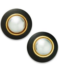 INC International Concepts - I.n.c. Gold-tone Imitation Pearl & Faux Leather Button Stud Earrings, Created For Macy's - Lyst