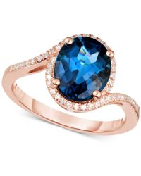 Macy's - London Blue Topaz (3 Ct. T.w.) & Diamond (1/6 Ct. T.w.) Ring In 14k Rose Gold - Lyst