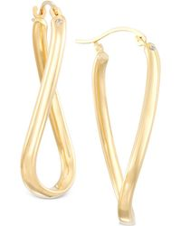Signature Gold - Twist Hoop Earrings In 14k Gold Over Resin - Lyst