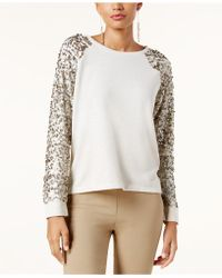 INC International Concepts - Sequined-sleeve Sweatshirt - Lyst