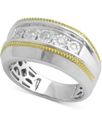 Macy's - Diamond Two-tone Ring (1/5 Ct. T.w.) In Sterling Silver & 14k Gold-plate - Lyst