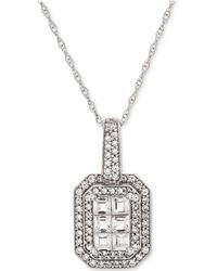 "Macy's - Diamond Cluster 18"" Pendant Necklace (1/2 Ct. T.w.) In 14k White Gold - Lyst"