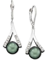 Macy's - Cultured Tahitian Pearl And Diamond Accent Earrings In 14k Gold (8mm) - Lyst