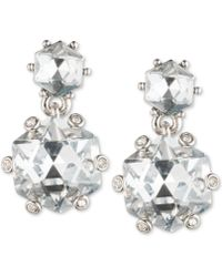 Carolee - Silver-tone Double Crystal Drop Earrings - Lyst