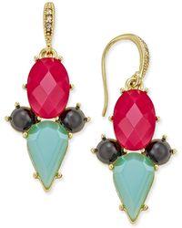 ABS By Allen Schwartz - Gold-tone Multi Crystal Drop Earrings - Lyst