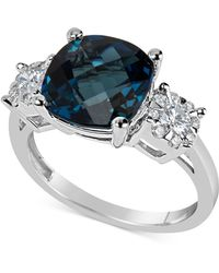Macy's - London Blue Topaz (5 Ct. T.w.) & Diamond (1/3 Ct. T.w.) Ring In 14k White Gold - Lyst
