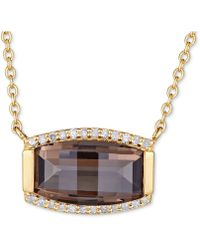 """Macy's - Smoky Quartz (3 Ct. T.w.) & White Topaz (1/8 Ct. T.w.) 18"""" Pendant Necklace In Gold Over Sterling Silver Vermeil - Lyst"""