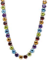 Macy's - Sterling Silver Necklace, Round Multi-stone (38-9/40 Ct. T.w.) - Lyst
