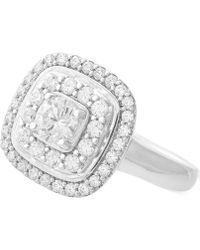 Wrapped in Love - Diamond Double Halo Cluster Ring (1 Ct. T.w.) In 14k White Gold - Lyst