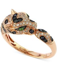 Effy Collection - Diamond (1/2 Ct. T.w.) And Emerald Accent Panther Ring In 14k Rose Gold - Lyst