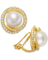 Danori - Gold-tone Imitation Pearl And Crystal Clip-on Earrings - Lyst
