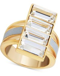 Guess - Gold-tone Crystal & White Faux Leather Ring - Lyst