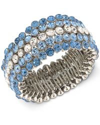 Carolee | Silver-tone Blue & Clear Crystal Stretch Bracelet | Lyst