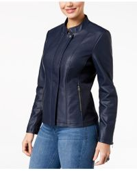 Style & Co. - Faux-leather Knit-contrast Jacket - Lyst