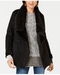 Style & Co. - Faux-suede Faux-fur Drape Coat, Created For Macy's - Lyst