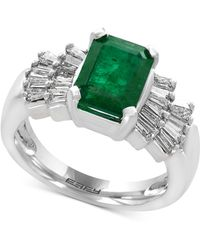 Effy Collection - Emerald (2-1/5 Ct. T.w.) And Diamond (5/8 Ct. T.w.) Ring In 14k White Gold - Lyst