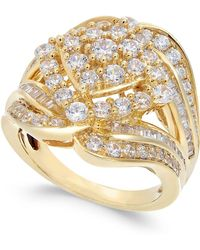 Macy's - Diamond Cluster Statement Ring (2 Ct. T.w.) In 14k Gold - Lyst