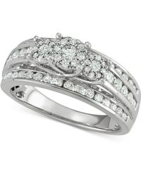 Macy's - Diamond Multi-row Cluster Engagement Ring (1 Ct. T.w.) In 14k White Gold - Lyst