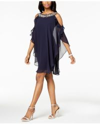 Xscape - Petite Embellished Cold-shoulder Overlay Dress - Lyst