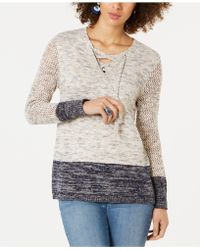 4766f6b24f4 Lyst - Style   Co. Petite Cowl-neck Lace Sweater in Purple