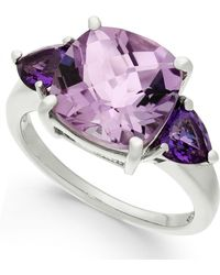Macy's - Amethyst Cushion Ring (4-1/5 Ct. T.w.) In Sterling Silver - Lyst
