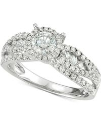 Macy's - Diamond Halo Engagement Ring (1-1/3 Ct. T.w.) In 14k White Gold - Lyst