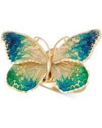 Macy's - Ceramic Butterfly Ring In 14k Gold - Lyst