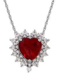 Macy's - Lab-created Ruby (4 Ct. T.w.) And White Sapphire (1 Ct. T.w.) Heart Pendant Necklace In Sterling Silver - Lyst