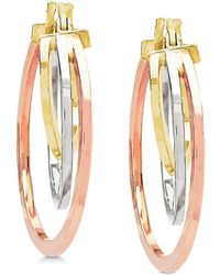 Macy's - Tricolor Graduated Hoop Earrings In 10k Gold, White Gold & Rose Gold - Lyst