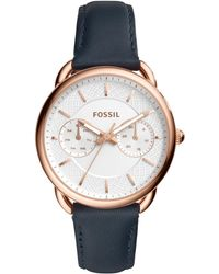 Fossil - Women's Tailor Navy Leather Strap Watch 35mm - Lyst