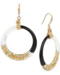 Robert Lee Morris - Gold-tone Colorblocked Drop Hoop Earrings - Lyst