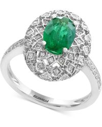 Effy Collection - Emerald (1-1/8 Ct. T.w.) And Diamond (1/4 Ct. T.w.) Ring In 14k White Gold - Lyst