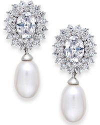 Arabella - Cultured Freshwater Pearl (8mm) And Swarovski Zirconia Earrings In Sterling Silver - Lyst
