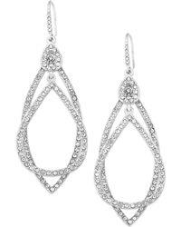 ABS By Allen Schwartz - Earrings, Silver-tone Pave Crystal Orbital Drop Earrings - Lyst