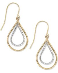 Macy's - Two-tone Double Teardrop Textured Drop Earrings In 10k Yellow And White Gold - Lyst