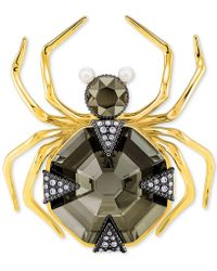 Swarovski - Two-tone Crystal & Imitation Pearl Spider Magnetic Brooch - Lyst