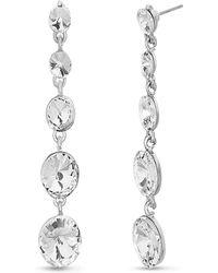 Catherine Malandrino - Tiered Round White Rhinestone Link Silver-tone Dangle Earrings - Lyst