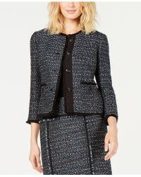Anne Klein - Fringe-trim Tweed Jacket - Lyst
