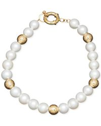 Macy's - Honora Style Cultured Freshwater Pearl (7mm) And Bead Bracelet In 14k Gold - Lyst