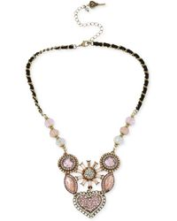 Betsey Johnson - Gold-tone Crystal Gem Cluster Frontal Necklace - Lyst