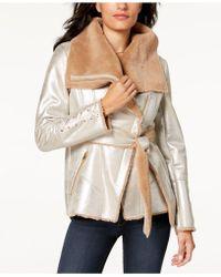 Guess - Metallic Faux-fur Coat - Lyst