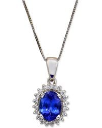 Macy's - Tanzanite (1-1/8 Ct. T.w.) And Diamond (1/6 Ct. T.w.) Pendant Necklace In 14k White Gold - Lyst