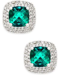 Macy's - Lab-created Emerald (1-1/3 Ct. T.w.) And White Sapphire (1/3 Ct. T.w.) Square Stud Earrings In Sterling Silver - Lyst