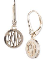 Dkny Logo Circle Drop Earrings Lyst