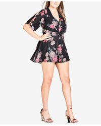 City Chic - Trendy Plus Size Printed Cutout Romper - Lyst